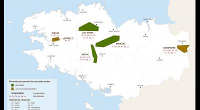 Les permis d'explorations accordés en Bretagne pour l'année 2015.