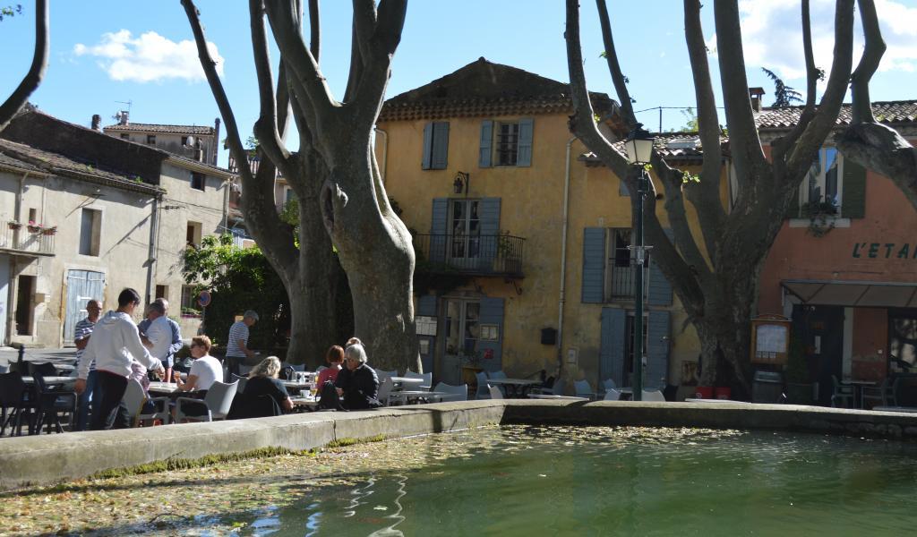 Au sud du Lubéron, dans le village médiéval et préservé de Cucuron, La Petite Maison accueille ses clients à l'ombre de platanes bicentenaires, au bord du bassin historique. © J. Dezécot