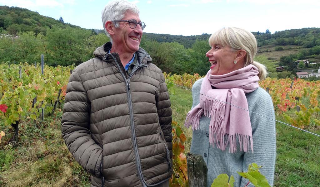 À Blacé, face au Mont Brouilly, les vignes de Sylvère Trichard s'étendent sur 8,5 hectares (crédit : Emmanuelle Berne)